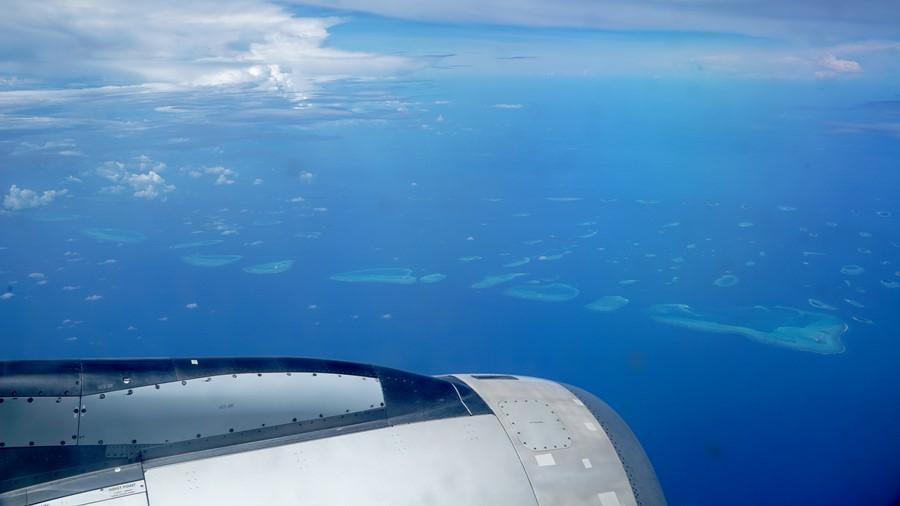 Vista dos atóis que formam as Maldivas